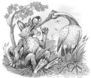 Волк и журавль —Лев Толстой