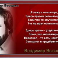 Я лежу в изоляторе— Владимир Высоцкий — читает Павел Беседин