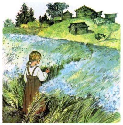 Видела Таня, как отец её горстями разбрасывал по полю маленькие блестящие зёрна, и спрашивает:  — Что ты, тятя, делаешь?  — А вот сею ленок, дочка; вырастет рубашка тебе и Васютке.  Задумалась Таня: никогда она не видела, чтобы рубашки в поле росли.  Недели через две покрылась полоска зелёной шелковистой травкой и подумала Таня: «Хорошо, если бы у меня была такая рубашечка».  Раза два мать и сёстры Тани приходили полоску полоть и всякий раз говорили девочке:  — Славная у тебя рубашечка будет!  Прошло ещё несколько недель: травка на полоске поднялась, и на ней показались голубые цветочки.  «У братца Васи такие глазки, — подумала Таня, — но рубашечек таких я ни на ком не видала».  Когда цветочки опали, то на место их показались зелёные головки. Когда головки забурели и подсохли, мать и сёстры Тани повыдергали весь лён с корнем, навязали снопиков и поставили их на поле просохнуть.  II  Когда лён просох, то стали у него головки отрезывать, а потом потопили в речке безголовые пучки и ещё камнем сверху завалили, чтобы не всплыл.  Печально смотрела Таня, как её рубашечку топят; а сёстры тут ей опять сказали:  — Славная у тебя, Таня, рубашечка будет.  Недели через две вынули лён из речки, просушили и стали колотить, сначала доской на гумне, потом трепалом на дворе, так что от бедного льна летела кострика во все стороны. Вытрепавши, стали лён чесать железным гребнем, пока не сделался мягким и шелковистым.  — Славная у тебя рубашка будет, — опять сказали Тане сёстры. Но Таня подумала:  «Где же тут рубашка? Это похоже на волоски Васи, а не на рубашку».  III  Настали длинные зимние вечера. Сёстры Тани надели лён на гребни и стали из него нитки прясть.  «Это нитки, — думает Таня, — а где же рубашечка?»  Прошли зима, весна и лето, настала осень. Отец установил в избе кросна, натянул на них основу и начал ткать. Забегал проворно челнок между нитками, и тут уж Таня сама увидала, что из ниток выходит холст. <iframe width=